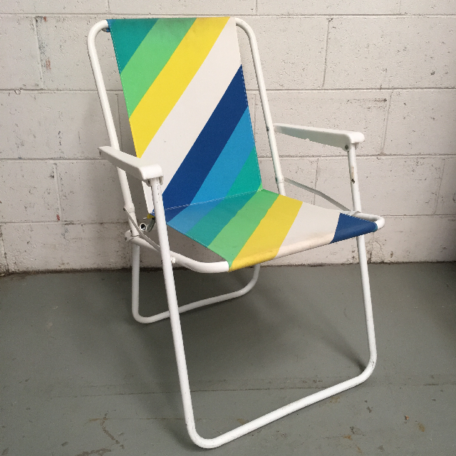 CHA0101 CHAIR, Beach - Green, Yellow, White, Blue Stripe $12.50