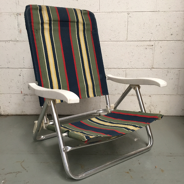 CHA0108 CHAIR, Beach - LOW Navy, Olive, Red Stripe $12.50