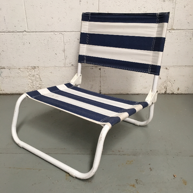 CHA0104 CHAIR, Beach - LOW Blue & White Stripe $11.25
