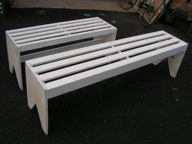 BEN0105/4 BENCH, Timber - White Slat 1.8m & 1.2m Long Backless $50 each
