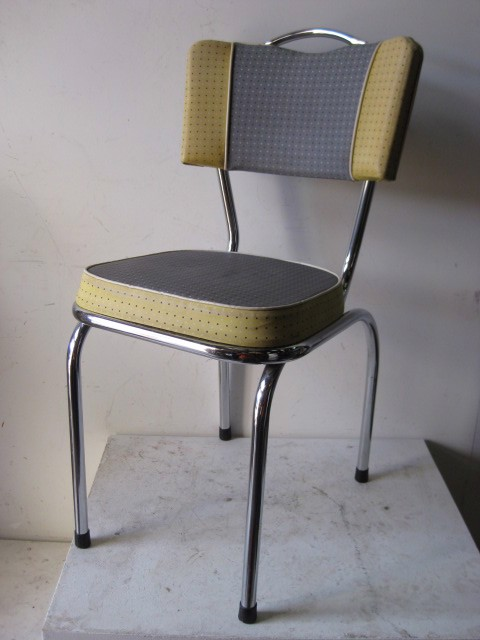 CHA0050 CHAIR, 1950s Kitchen Chair - Grey & Yellow Polka Dot $25