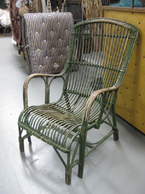 CHA0202 CHAIR, Garden - Cane Victorian Aged Dark Green $30