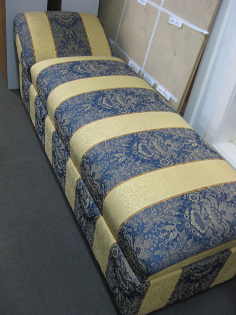 CHA0400 CHAIR, Chaise Regency Stripe - Blue & Gold 1.8m Long $100