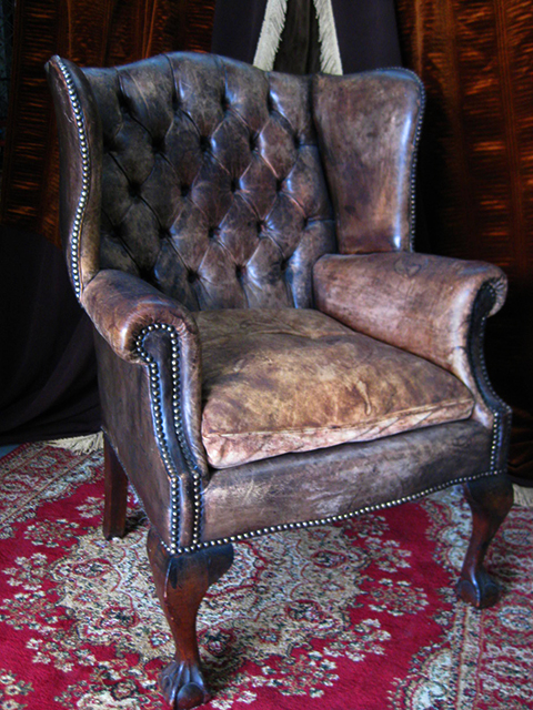 CHA0450 CHAIR, Chesterfield Wingback - Brown $200