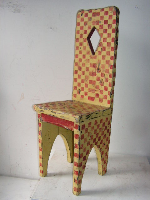 CHA0602 CHAIR, High Back - Harlequin Yellow & Red Timber $37.50