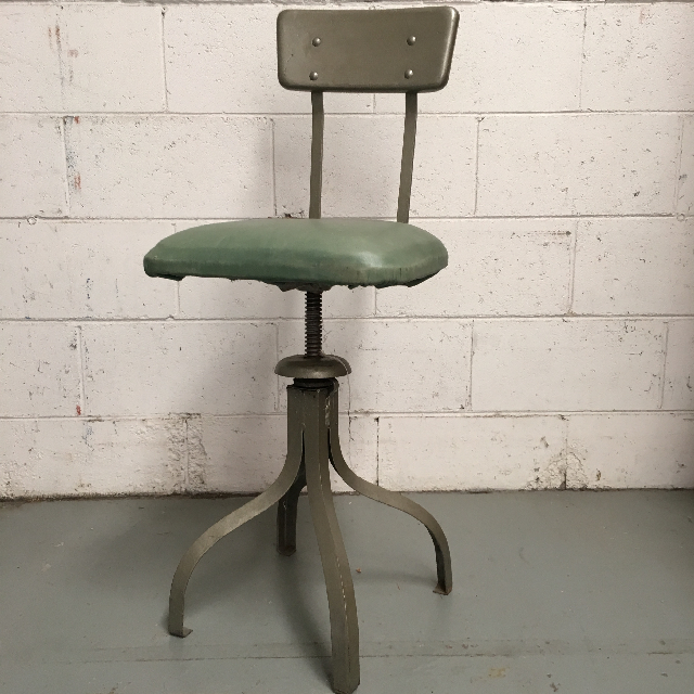STO0100 STOOL, Industrial Swivel Grey Green $30