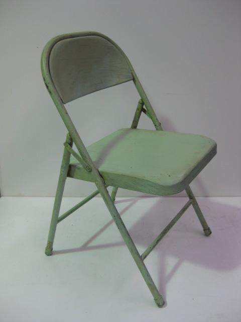 CHA0502 CHAIR, Folding Metal - Pale Green $20