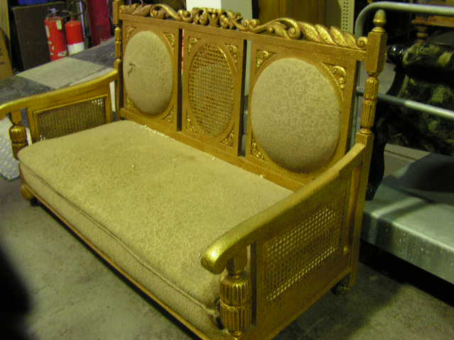 CHA0454 CHAIR, Salon Lounge - 1920s 3 Seater Gold $150