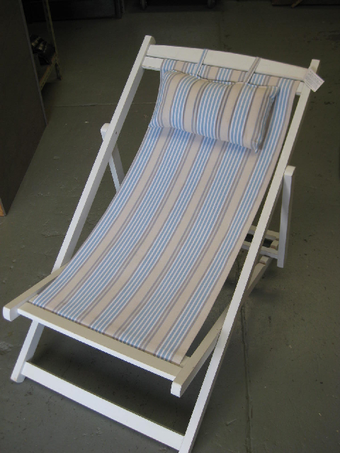 CHA0701 CHAIR, Deck Chair - Light Blue & White, White Timber Frame $18.75