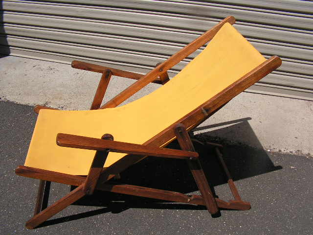 CHA0714 CHAIR, Deck Chair - Vintage Yellow with Armrests, Dark Timber Frame $25