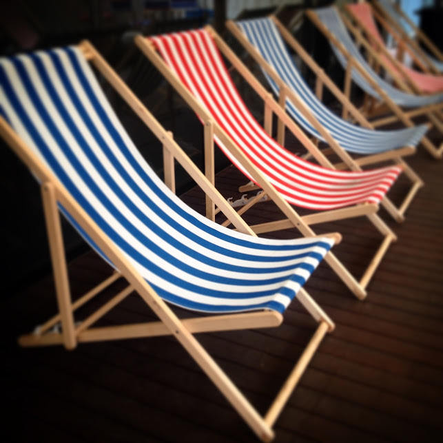 Assorted Striped Deck Chair Setup