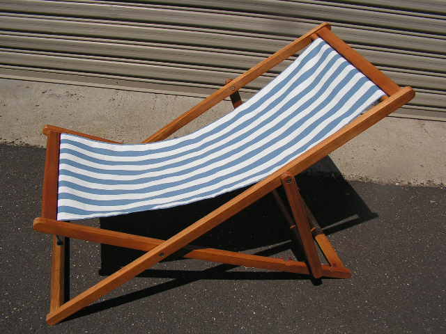CHA0708 CHAIR, Deck Chair - Pale Blue & White, Dark Timber Frame $18.75