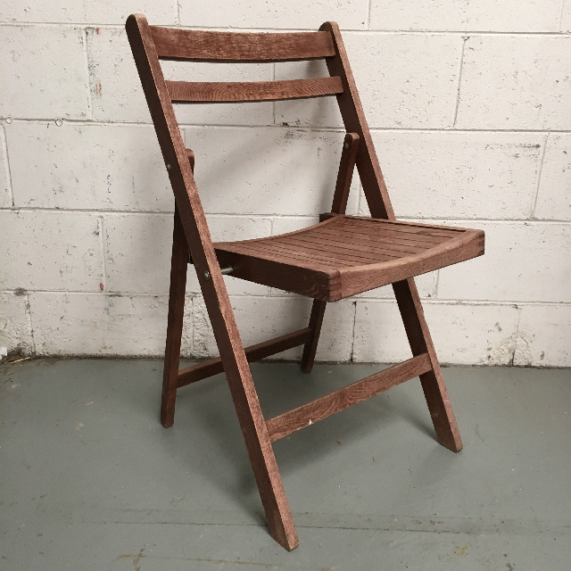 CHA0503 CHAIR, Folding Timber - Aged Slatted $18.75