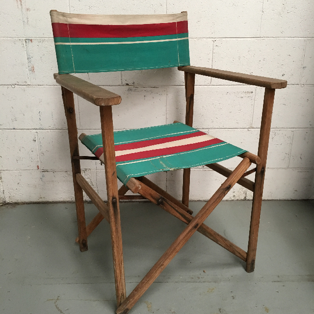CHA0551 CHAIR, Steamer Chair - Green, Red Vintage $22.50