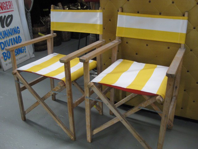 CHA0552 CHAIR, Steamer Chair - Yellow, White $18.75