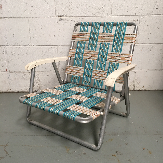 CHA0521 CHAIR, Folding Vintage Lawn Chair - Aqua Webbing Low $15