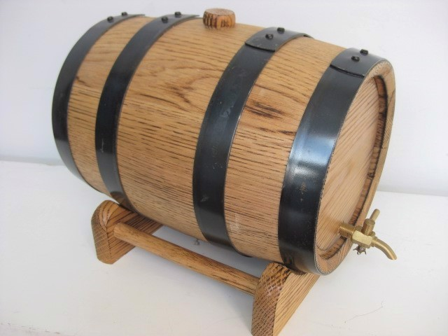 BAR0006 BARREL, Timber Keg with Tap on Stand $20