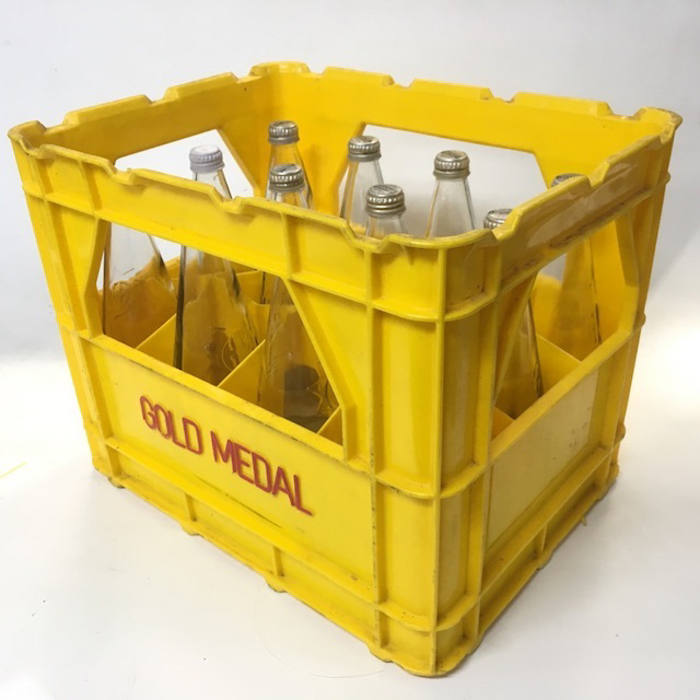 CRA0057 CRATE, Yellow Plastic 'Gold Medal' w Soft Drink Bottles $22.50