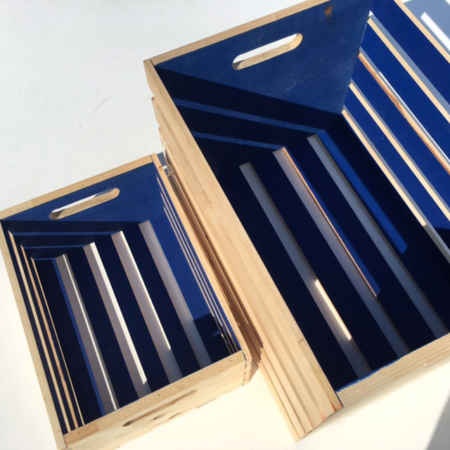 CRATE, Slatted Blue - Small (30W x 40L x 20cm H) $15 & Large (42W x 56L x 38cm H) $22.50
