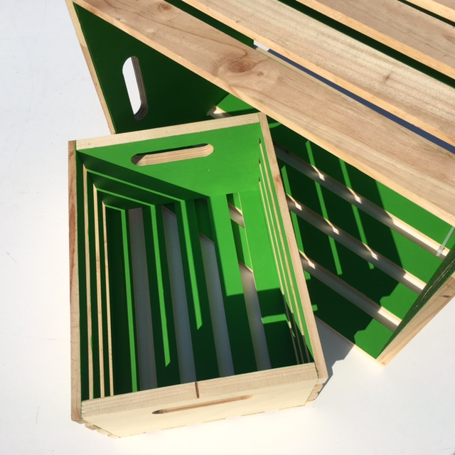 CRATE, Slatted Green - Small (30W x 40L x 20cm H) $15 & Large (42W x 56L x 38cm H) $22.50