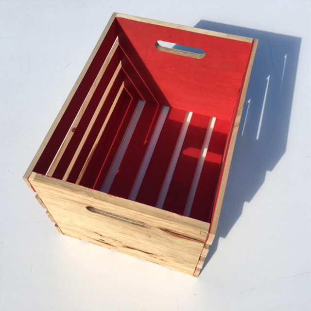 CRATE, Medium Slatted - Red (36W x 48L x 38cm H) $18.75